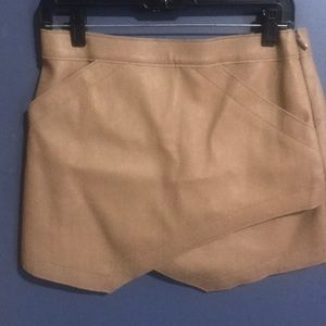 BEIGE LEATHER BCBG ASYMMETRICAL SKIRT